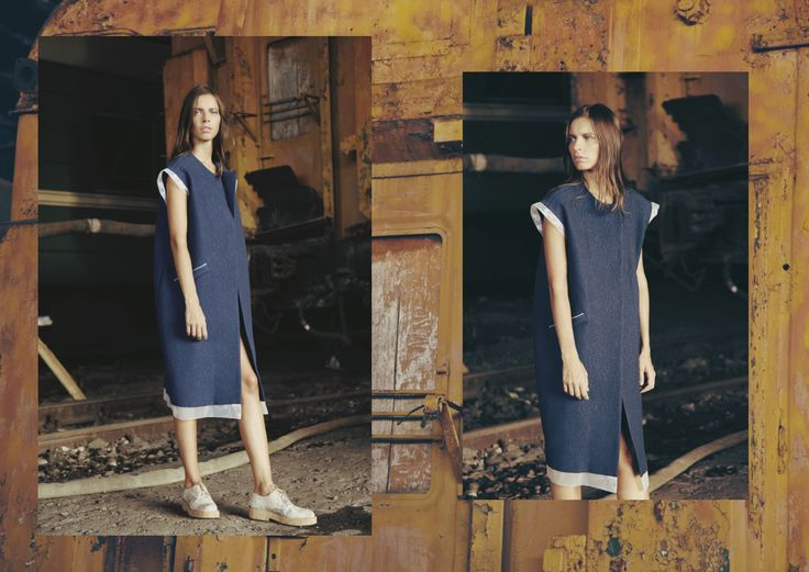 ANOUKI | Blue cotton oversized vest with organza details and ANOUKI signature shoes.