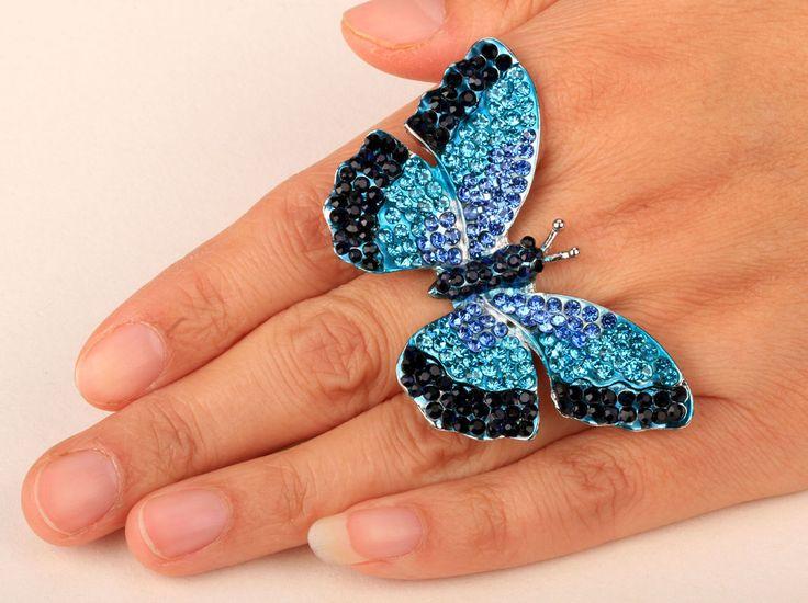 Vlinder stretch ring voor vrouwen meisjes zomer bling sieraden W crystal &…