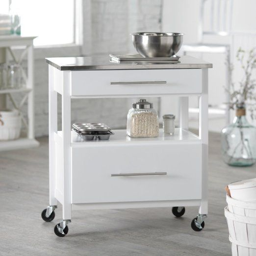 Belham Living Mid Size Kitchen Island With Stainless Steel Top