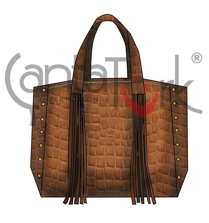 Fashion Bag with alligator print on taba suede