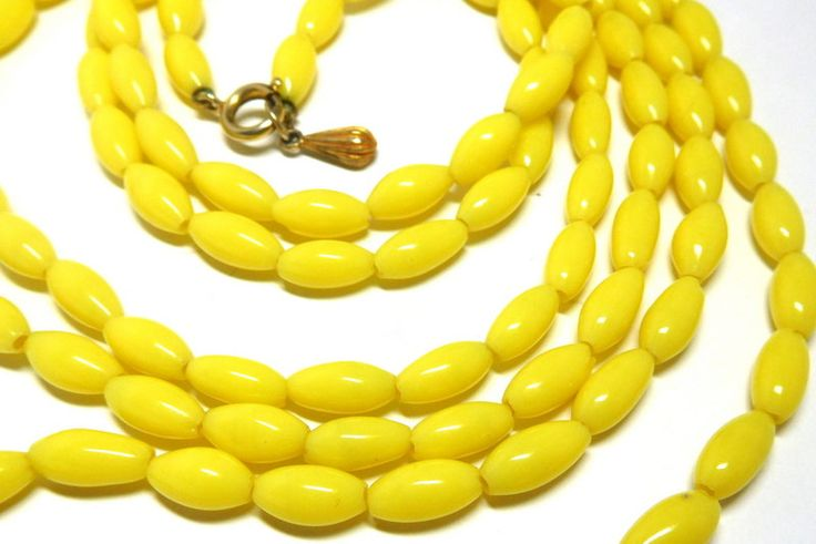 """Vintage Yellow Necklace Glass Beads XL 31"""" JOY brand Flapper Retro Party Spring Summer by JewlsinBloom on Etsy"""