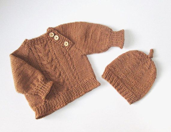 Handknit sweater and hat for baby boy brown baby by iziknittings, $46.00