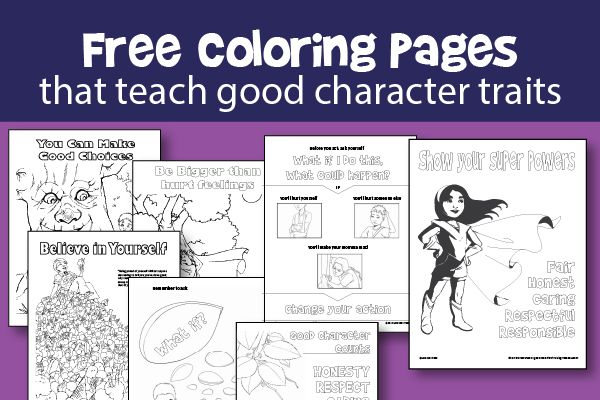 Free printable character education coloring pages that teach good character traits like respect and honesty