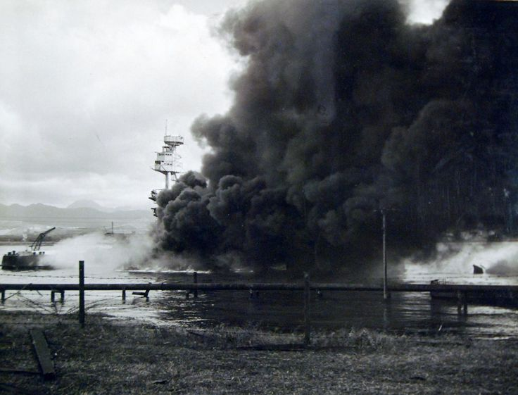 80-G-32560: USS Arizona (BB 39) burning after the Japanese attack on Pearl Harbor, 7 December 1941.