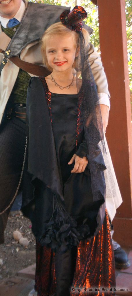 DIY vampire princess costume for girls. How to sew the dress, make the hat, and makeup.