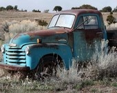 """She followed him to Cheyenne"" is the title and my Old Blue Chevy Pickup in the Field is included here"