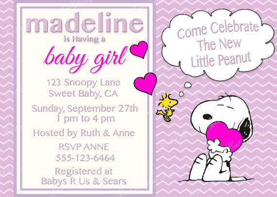 Snoopy Peanuts Baby Shower Invitation Digital Printable Baby Girl
