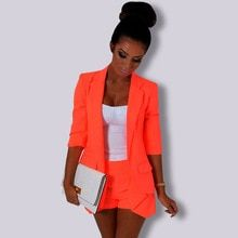 Autumn Women Formal Blazer Jacket Ladies's Sweet Colour Orange Purple Feminine Single Breasted Workplace Go well with Coat