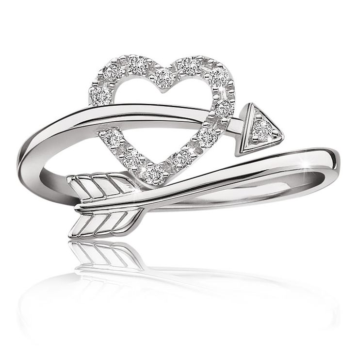 heart arrow diamond ring in sterling silver jewelry. Black Bedroom Furniture Sets. Home Design Ideas