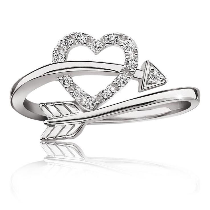 Heart & Arrow Diamond Ring in Sterling Silver