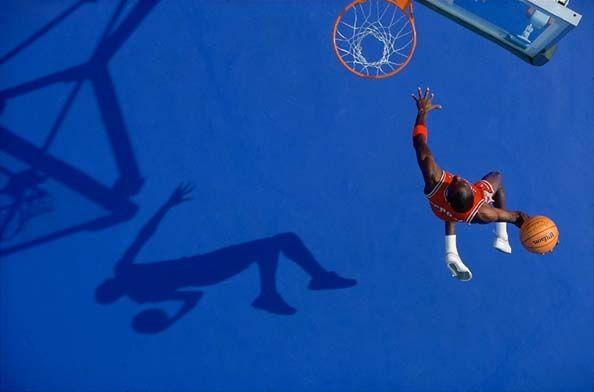 """Blue Dunk"" Michael Jordan, Lisle, IL, July, 1987"