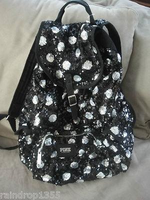 Victorias Secret PINK Sequin Bling Backpack Polka Dot Tote Book Bag Limited Ed