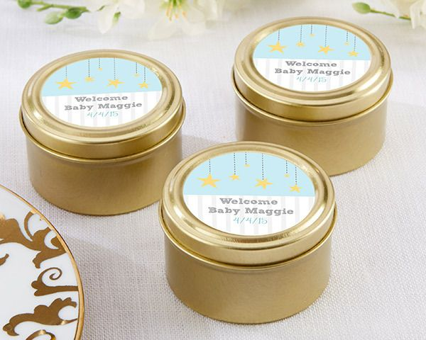 (Set of 12)  Personalised Gold Round Candy Tins - To the Moon & Back