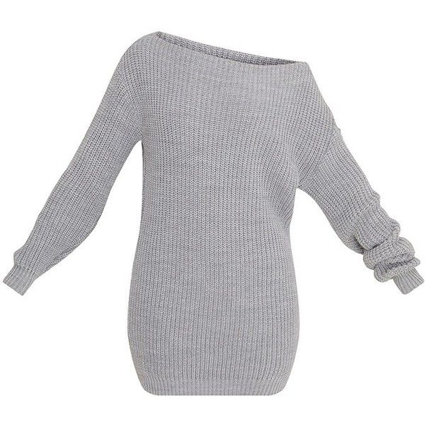 Larissa Grey Off The Shoulder Knitted Dress ($30) ❤ liked on Polyvore featuring dresses, sweaters, tops, grey knit dress, gray dress, knit dress, off shoulder dress and off-the-shoulder dress