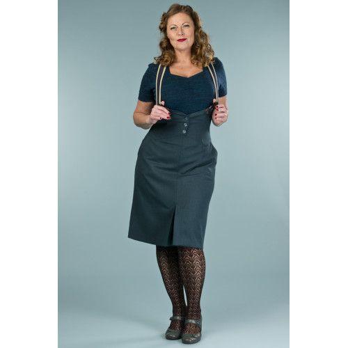 <p>Nieuwe herfst/winter collectie Emmy- Deze jaren 40s The Miss Fancy Pants Skirt Teal Combed Twill. De Miss Fancy pants rokken hebben een extra hoge taille die samen met hun vest detail, je taille en buste mooi benadrukken voor een elegante look.</p>