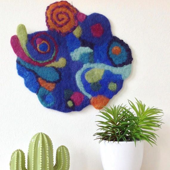 Modern design Wool painting. Unique wall hanging centerpiece
