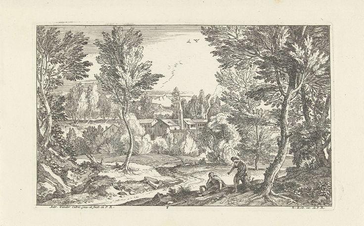 Adriaen van der Kabel   Landschap met man zittend op boomstronk, Adriaen van der Kabel, N. Robert, Lodewijk XIV (koning van Frankrijk), 1648 - 1705   Landschap met op boomstronk zittende man, wijzend naar vrouw zittend bij pot. Op de achtergrond, tussen de bomen, een dorp.
