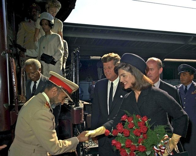 Emperor Haile Selassie is greeted by President John F. Kennedy and First Lady Jacqueline Kennedy upon his arrival at Union Station in Washington, D.C on October 1st, 1963. (Photo: The John F. Kennedy Presidential Library and Museum)