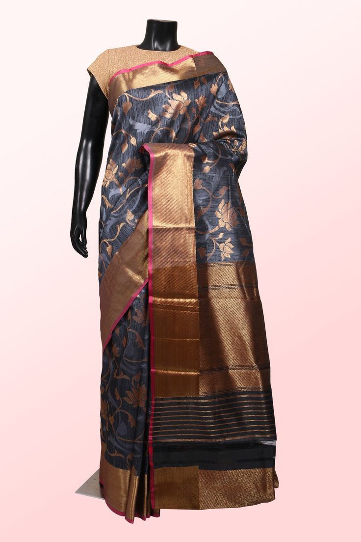 Black & steel grey dual weaved with antique gold banarasi silk saree with zari weaved pallu -SR10845 | banarasi silk sarees online shopping | #pretty #gorgeous #ethnic #wears #collection #banaras