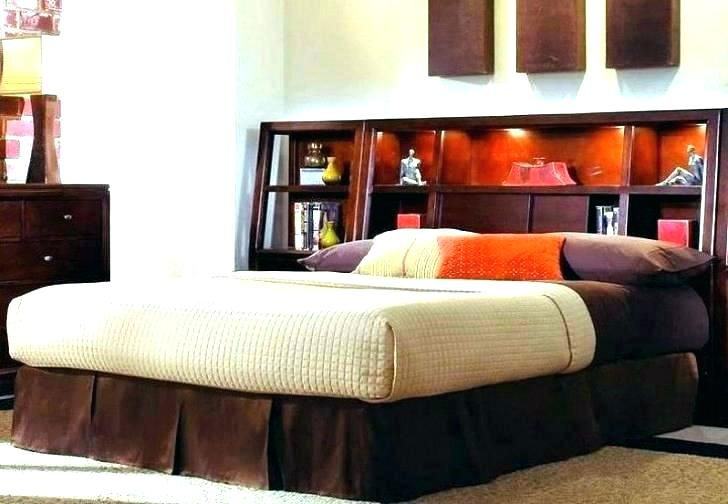 Bookcase Headboard King Storage, Queen Size Headboard With Storage And Lights