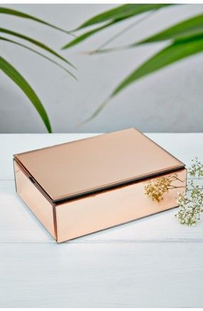 Oola Rose Gold Large Mirrored Jewellery Box
