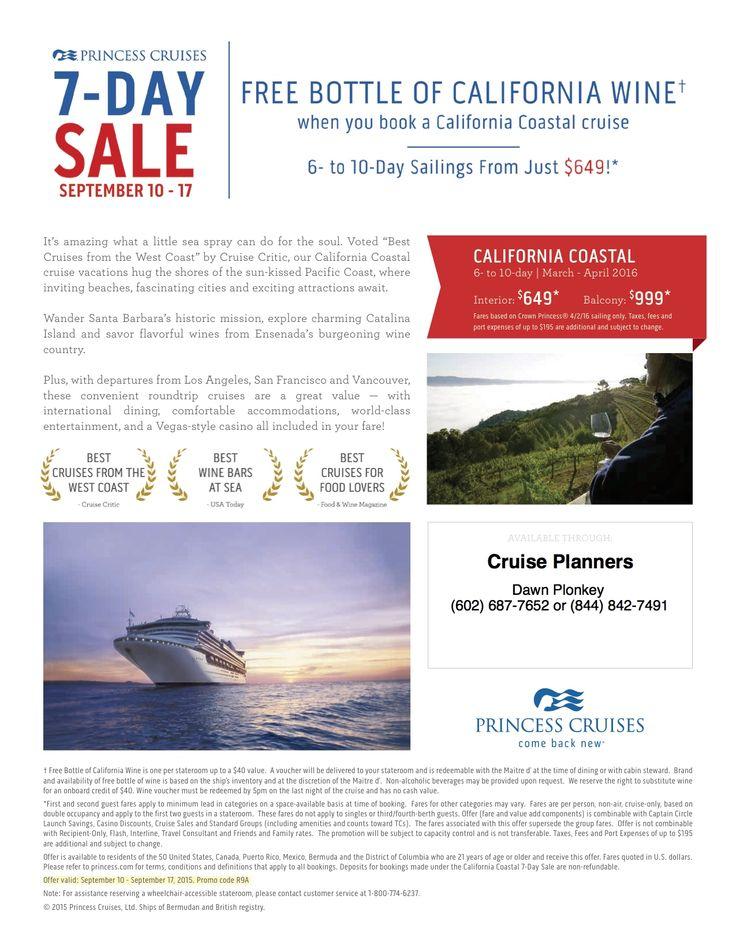 Princess Cruise Th Anniversary Specials Httpwww - California coast cruises