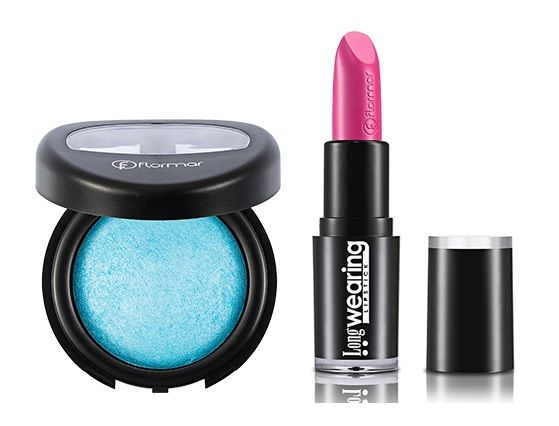 FlorMar blue eye shadow and pink lipstick