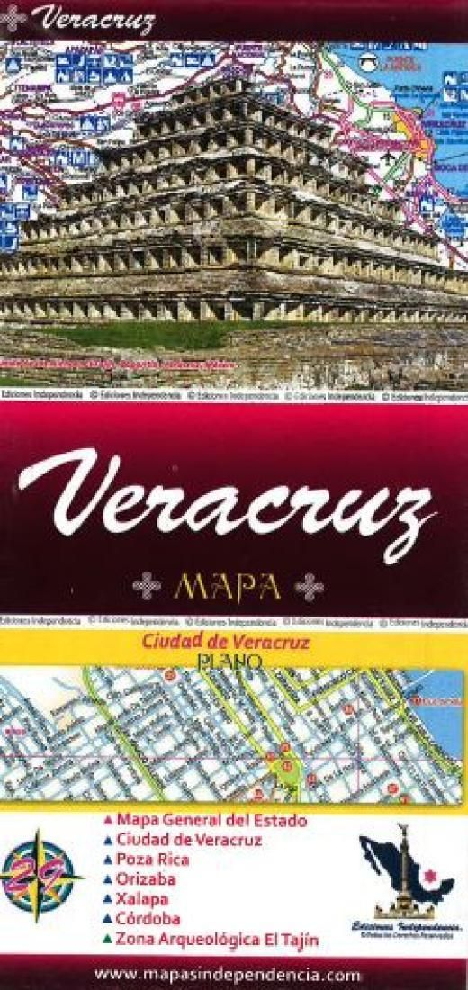 Veracruz, Mexico, State and Major Cities Map by Ediciones Independencia