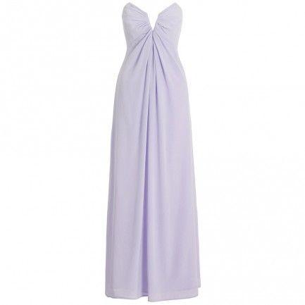 Silk V Long Dress in purple