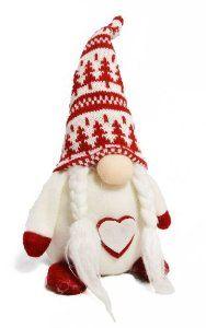 NEW 28CM RED & WHITE NORDIC GONKS CHRISTMAS DECORATION