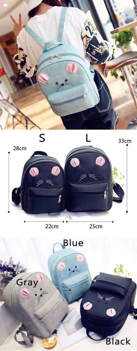 Which color do you like? Cartoon Rucksack PU Schoolbag Animal Backpack Gift Clutch #cartoon #backpack #school #rucksack #bag #cute #gift #kitty