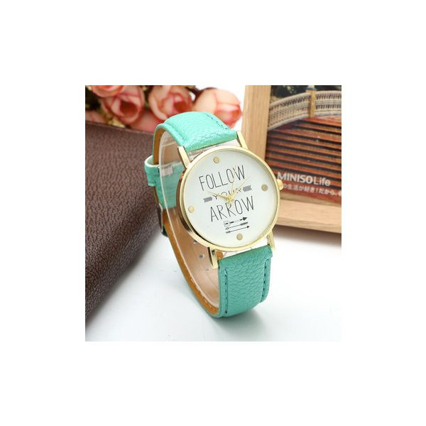 Simple PU Leather Follow Your Arrow Alloy Watch ($6.07) ❤ liked on Polyvore featuring jewelry, watches, mint green, mint green watches, mint green jewelry, mint jewelry, mint watches and dial watches