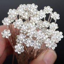40 Pcs Grampos de cabelo de Noiva Tiara de Casamento Charme Pérola Flor de Cristal Strass Grampos de Cabelo Pinos Acessórios de Jóias alishoppbrasil