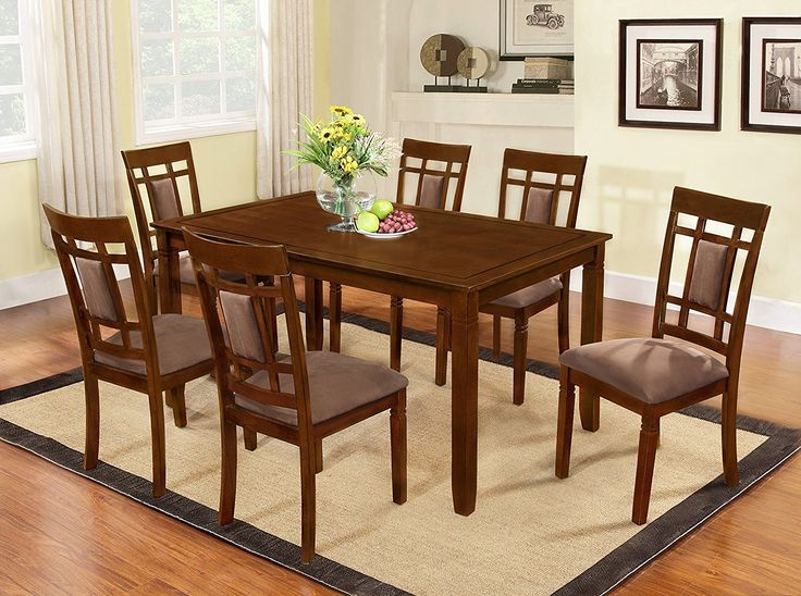 Dining Room Design With The Room Style 7 piece Cherry Finish Solid Wood Dining Table Set – Bring that classic style you crave to your dinner parties for years with the Inworld 7pc dining set, dark cherry gracing your home. The whole set of dining table and 6 chairs is finished in a deep...