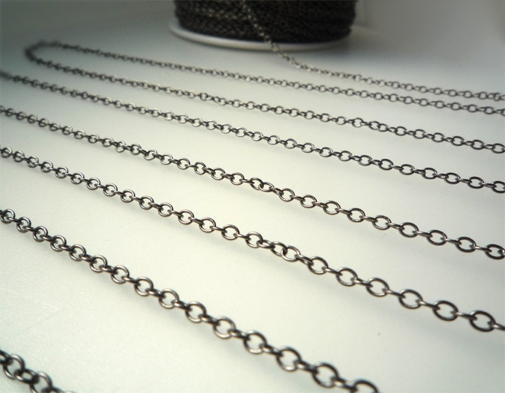 Black Plated Brass Chain - 5 ft. ( DS210 ). $4.00, via Etsy.