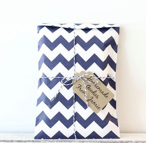 Blue Chevron Paper Favor Bags, Blue Favor Bags, Paper Treat Bags, Wedding Candy Bags, Navy Wedding, Nautical Decor, Bridal, Baby Shower