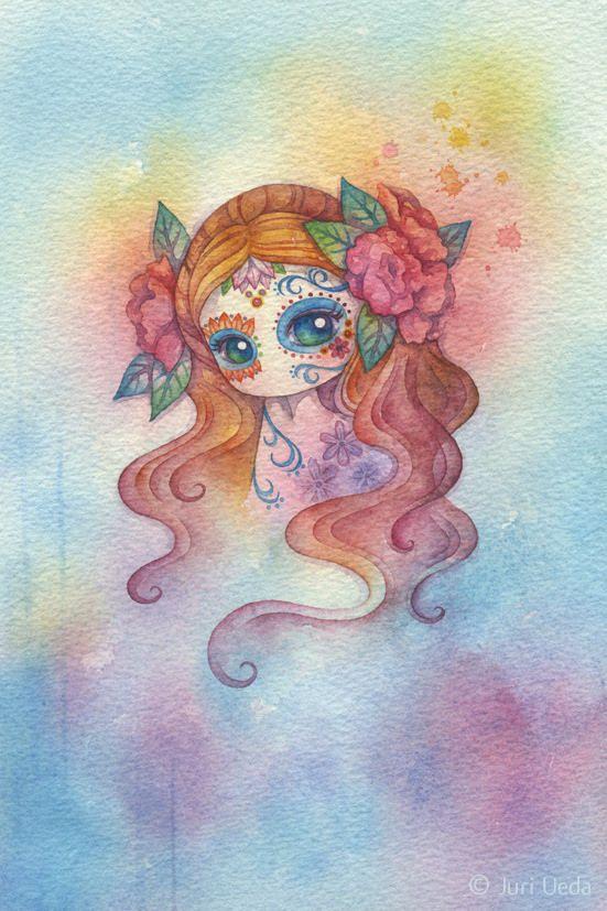 https://flic.kr/p/uJnhGK | dia de los muertos in pink | 15cm x 22.5cm / watercolor on paper / 2015  *sold*