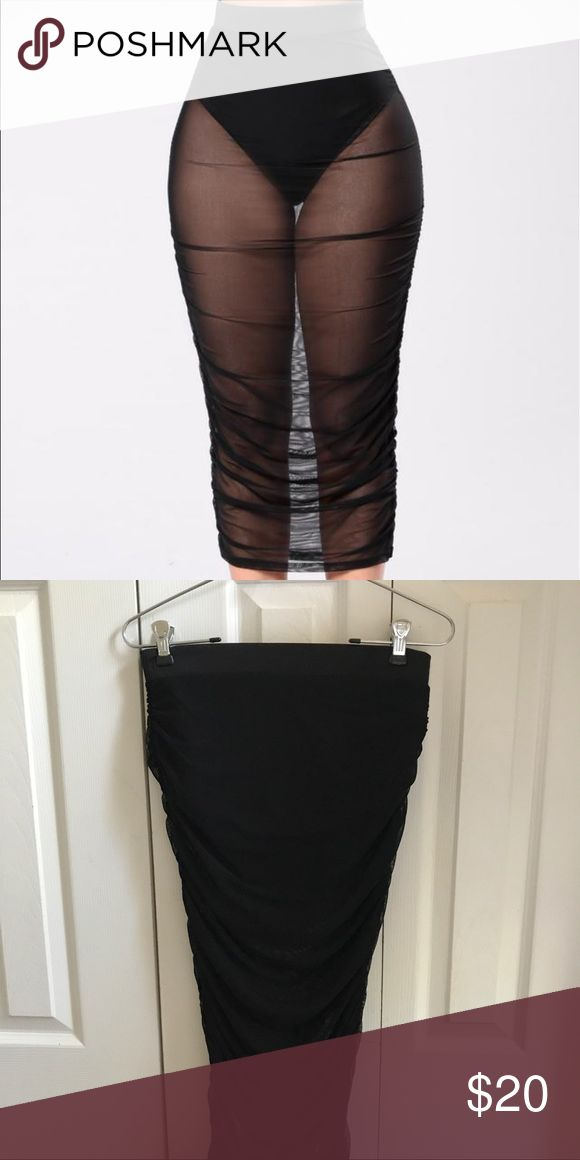 Black Mesh Pencil Skirt Has an attached insert inside the skirt. The insert is like panties almost. Skirt goes to your knees & stretches a lot. High waisted too Fashion Nova Skirts Midi