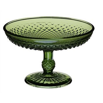 Serving Dishes & Serveware - Briscoes - Diamond Footed Glass Dish Green 19.5cm