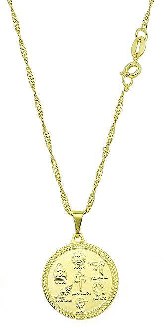 Gargantilha folheada a ouro c/ a medalha dos 7 poderes (esotéricos)