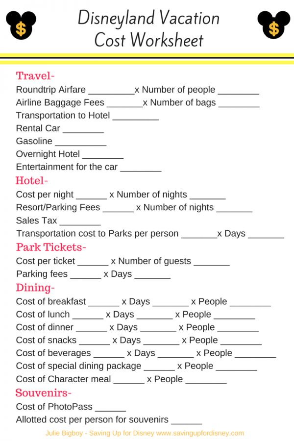 How Much Will a Disneyland Vacation Cost? - Check out this Free Printable Checklist and check this link for tons of money saving ideas.