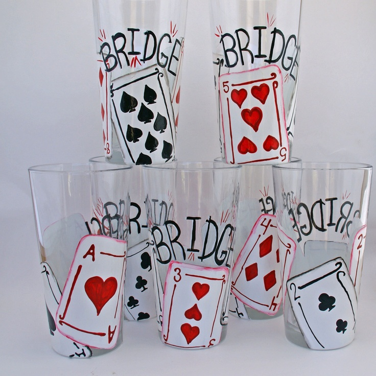 For all you bridge players out there - great way to know whose glass is whose!