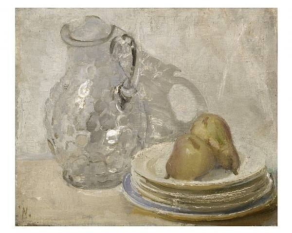 Glass Jug with Pears on a Plate