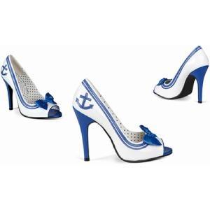 Blauw - witte sailor hakken, Matrozen schoenen voor dames met anker. Sexy sailor pumps voor dames, blauw en wit. Deze matrozen pumps voor dames hebben een strik op de neus en hakken van ca. 10 cm.  Vind het op www.shopwiki.nl #hakken #schoenen voor vrouwen