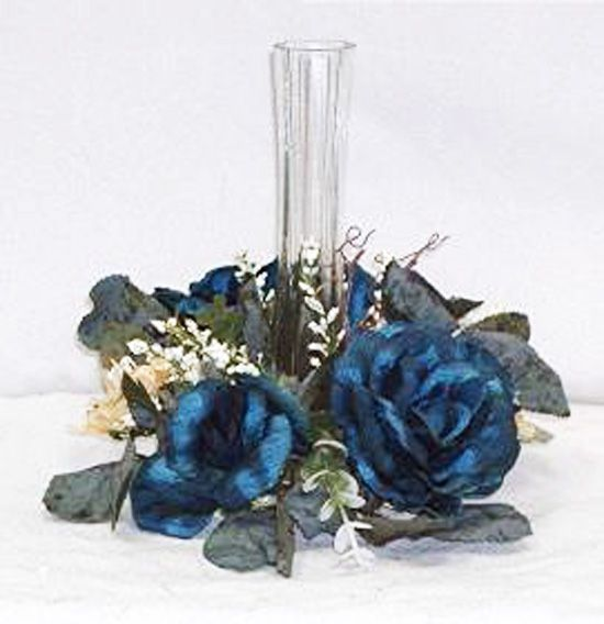 Wedding Centerpieces with Candles and Flowers | Candle Rings Marine Horizon Blue Wedding Silk Flowers Centerpieces ...
