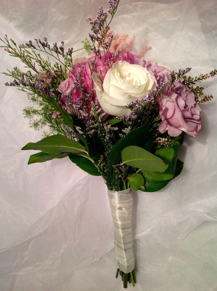 Roses In Garden: Back Of Bridesmaids Bouquet. Dark Pink Alexander Flemings