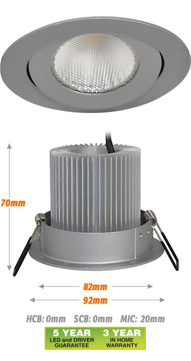 Rock 92 11W LED Downlight - Silver, LED Lighting, New Zealand's Leading Online Lighting Store