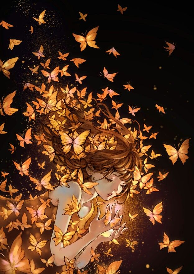 Golden Butterflies (artist unknown) - beautiful anime art *-*