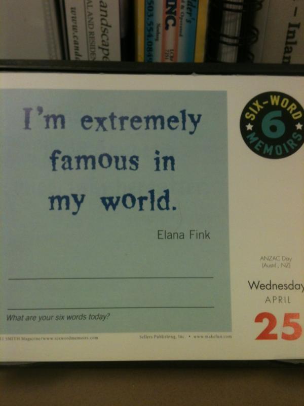 From the Six Word Memoirs Desk Calendar