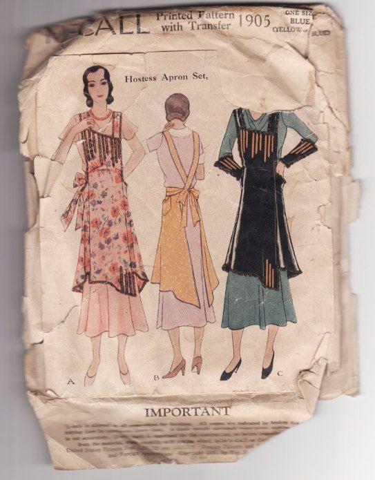 McCall 1905 Rare Vintage 1920's Apron Pattern. $45.39, via Etsy.